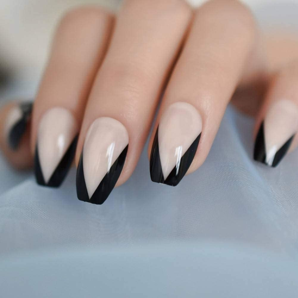 black tip french nails