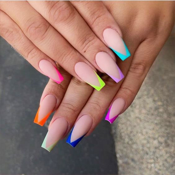 Multi color Nail designs
