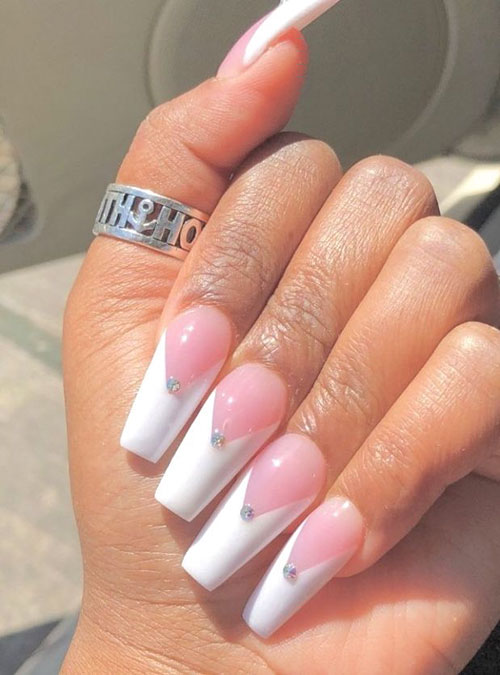 white nail polish with long nails