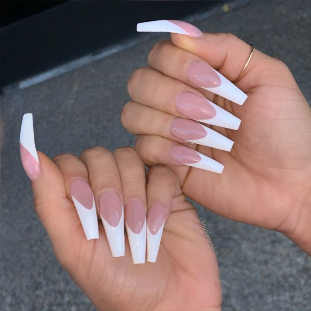 long tip french design white nails