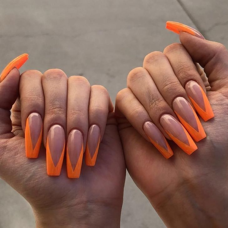 Orange Long French Tip Nails