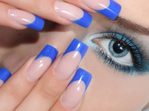 Blue Nails with french tip