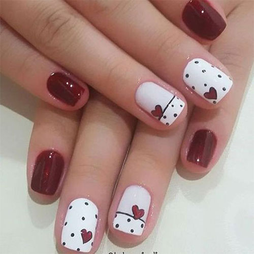 Simple heart nails designs red and white