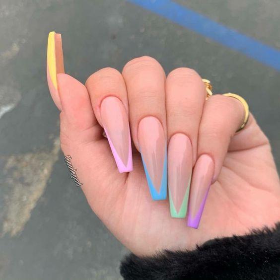 multicolor nails designs