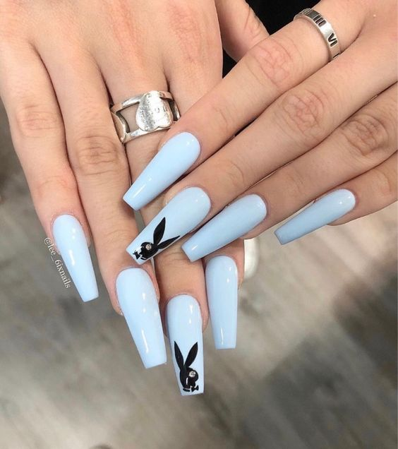 baby blue acrylic nails coffin dope