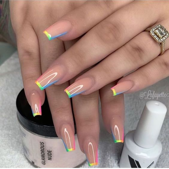 Dope rainbow Nail Designs