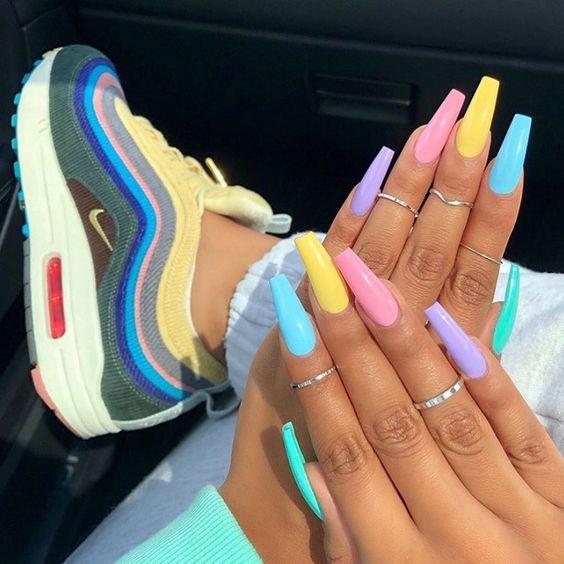 dope multi color nail designs