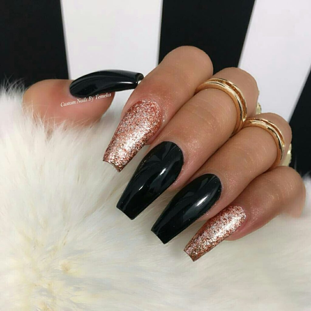 Gold and Black acrylic Coffin Nails
