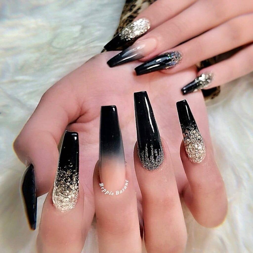 Silver and Black Nails Coffin Design