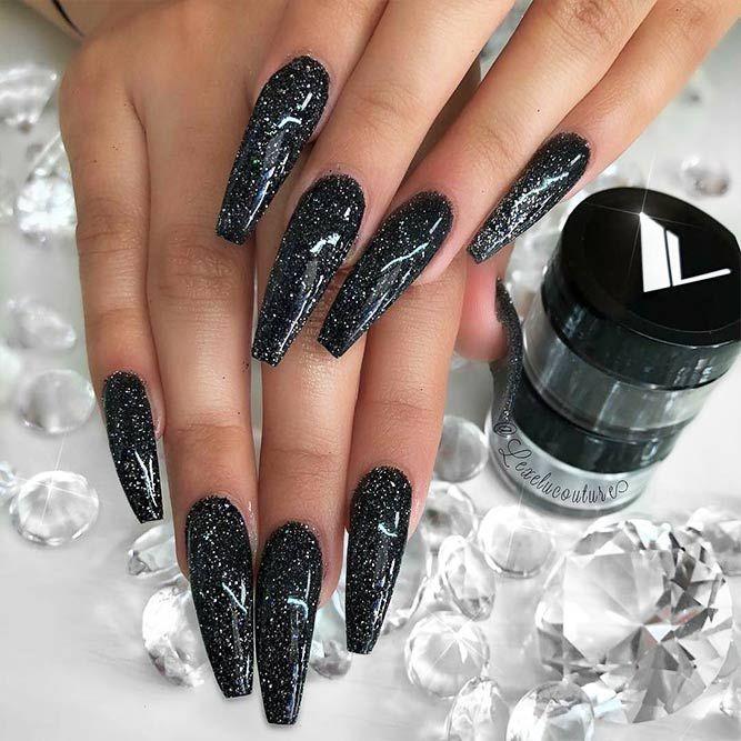 black glitter nails design