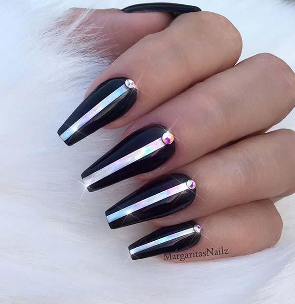 Silver Rhinestones and Design with Black Coffin nails Design