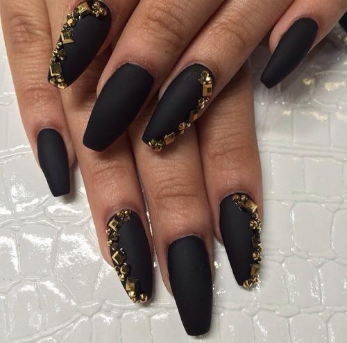 Gold Rhinestones with matte black coffin nails designs