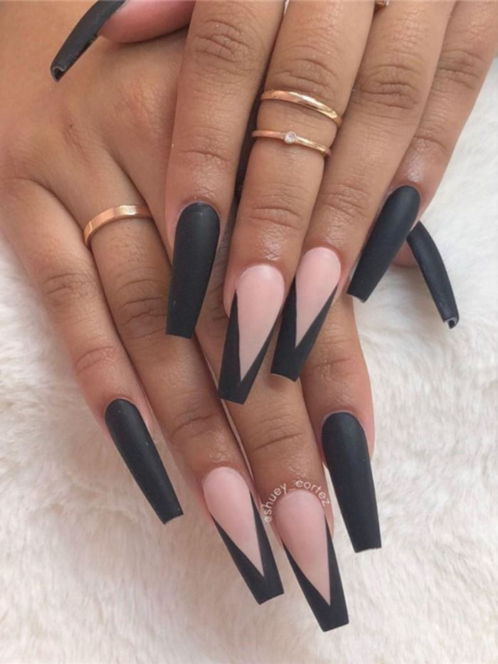 Long matte nails with clear top