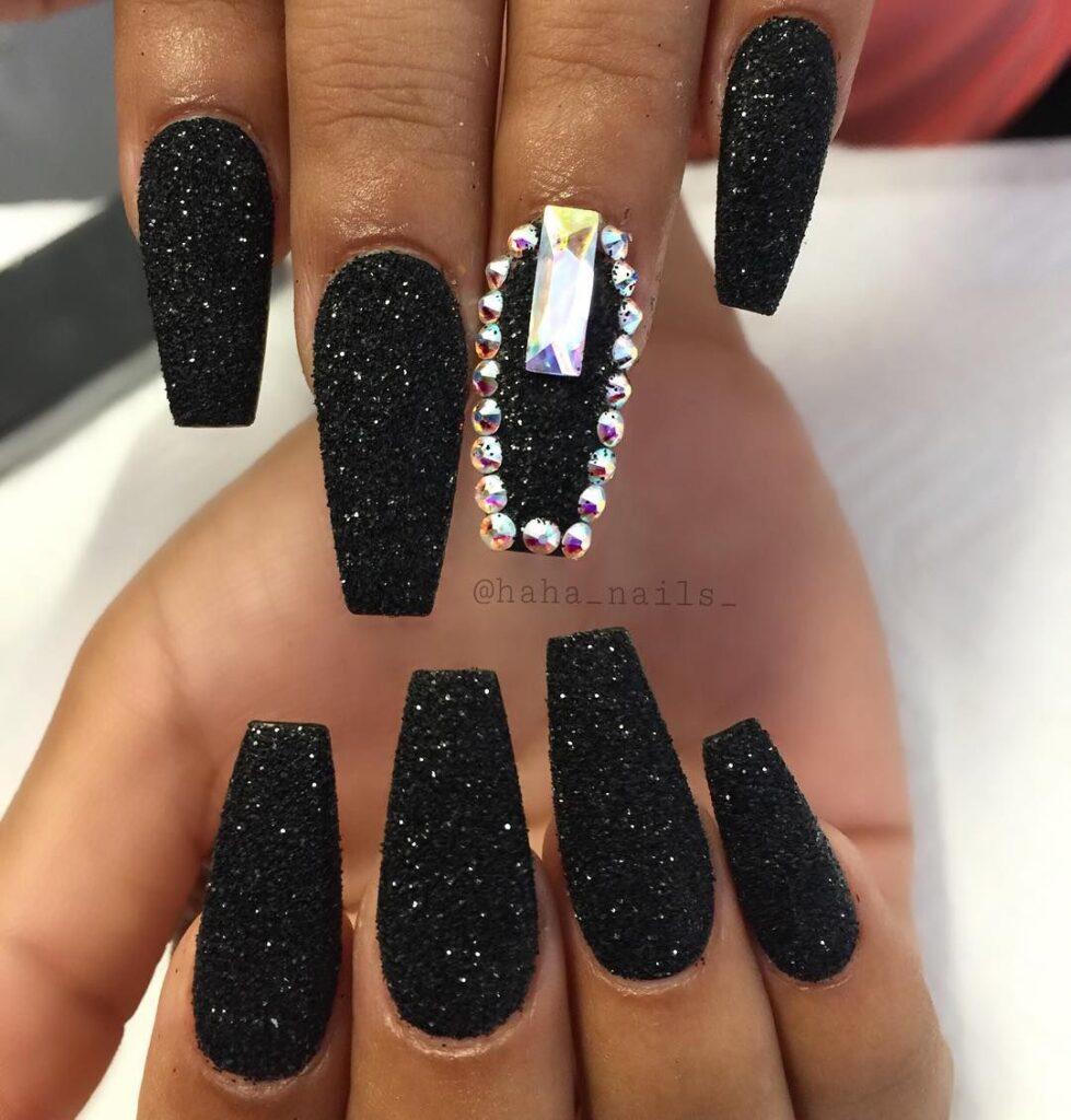 glitter black coffin nails with rhinestones