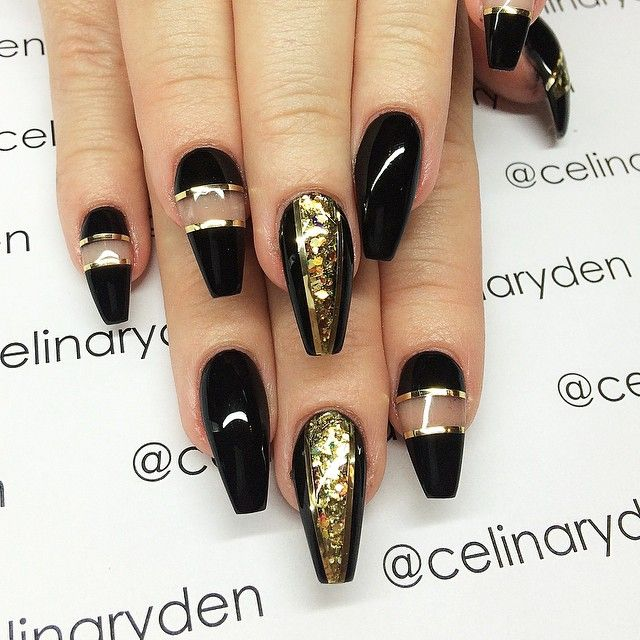 Gold and Black Coffin Nails design