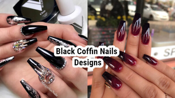 Black Coffin Nails Designs