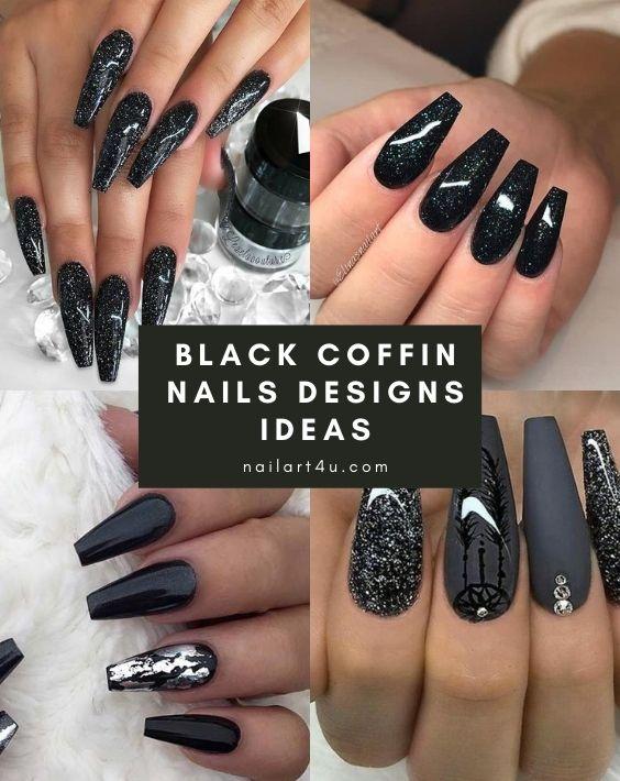 Black Coffin Nails Designs Ideas