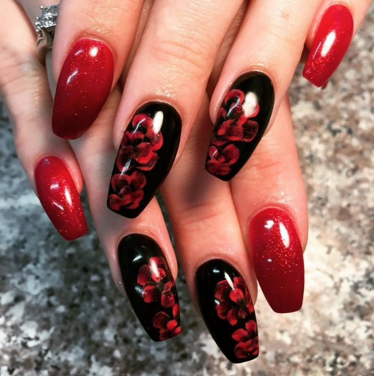 Red and Black Coffin nails