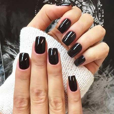 shinny black short coffin nails