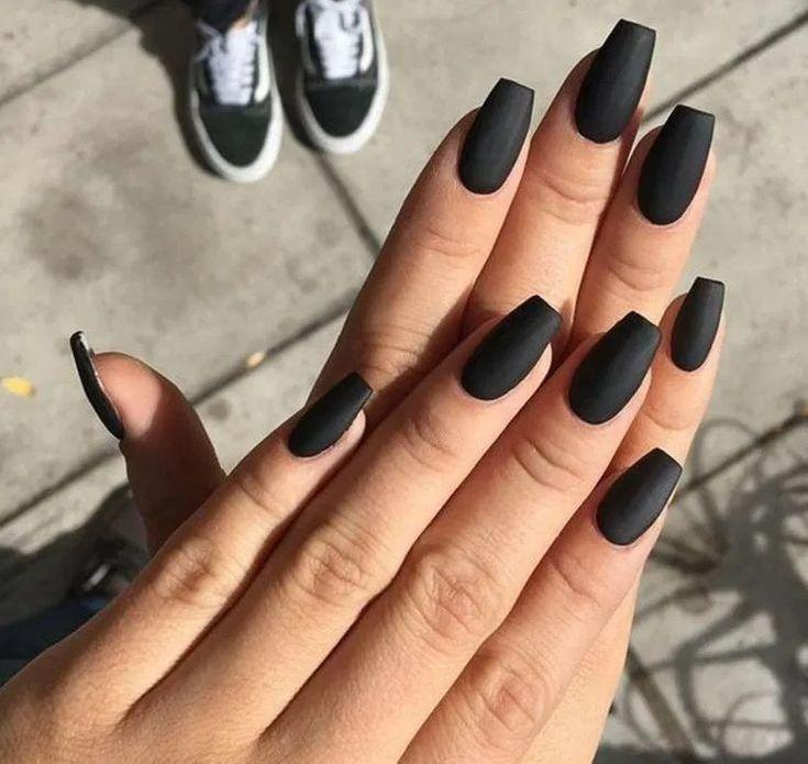 matte short black coffin nails