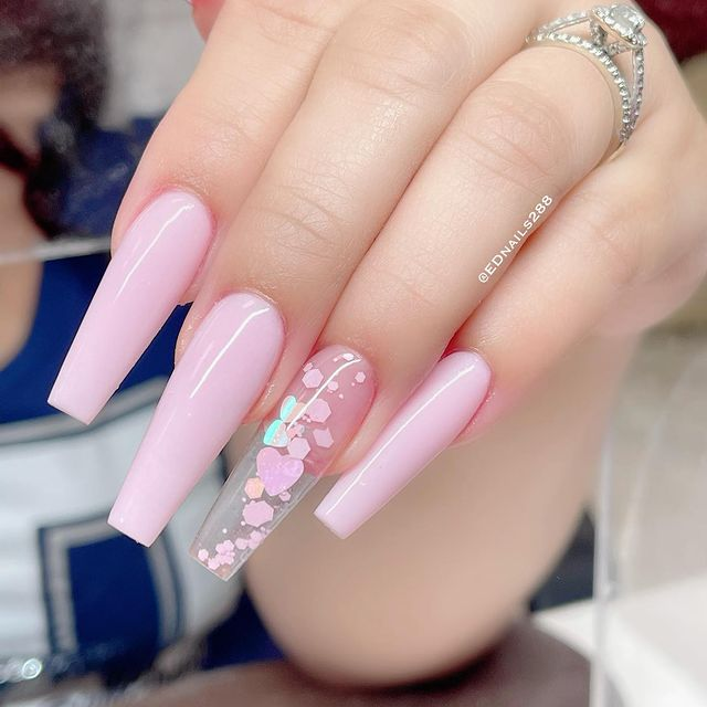 long Pink valentine's nails Design ideas with Heart Design.
