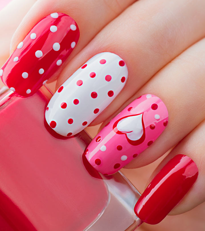 White, Red, and Pink Polka Dot Nails Design Ideas For Valentines Day