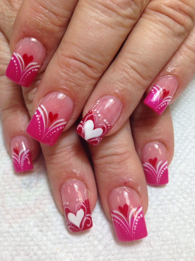 Medium length Nails Designs with Heart Valentines Designs