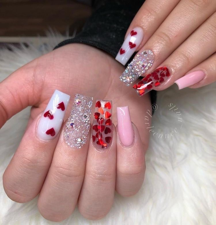 Long Silver, White, Pink Heart Valentines Nails Design Idea